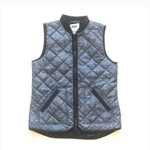 Old Navy size large quilted chambray vest denim