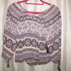 Off the shoulder multi color design woven top