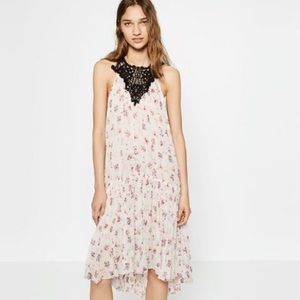 Zara crochet maxi floral print dress