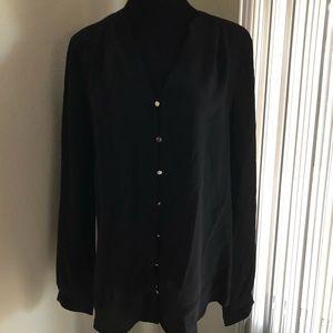 Ann Taylor black silk blouse