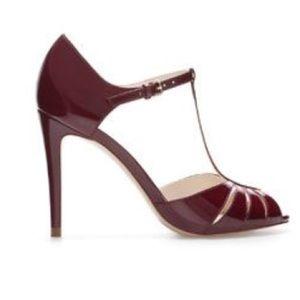 ZARA Maroon T-Strap patent Heels