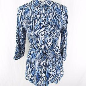 Shaped Fit Zebra Stripe Blue Tie Waist Blouse