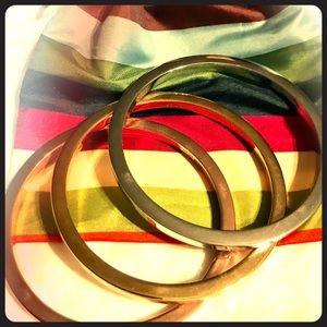 COACH-TriColor Bangles Silver Gold Rose Bracelets