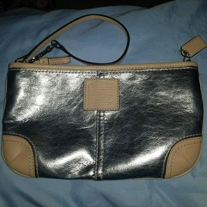 Silver and Camel Coach Wristlet