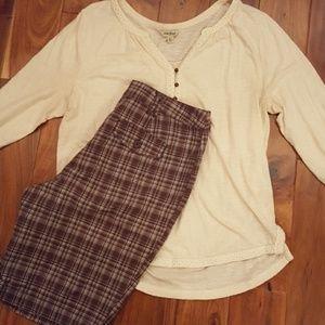 Brown & Cream Plaid Shorts NWOT