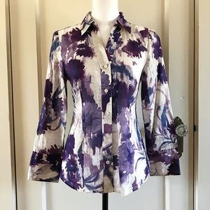 ANN TAYLOR - Purple Cotton Button Down Shirt 6 / S