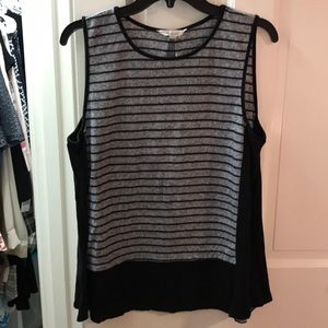ATHLETA heathered grey & black striped top XL