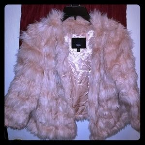 Faux fur light pink peach coat