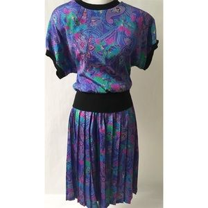 Purple & Black Vintage Dress Size Petite Medium