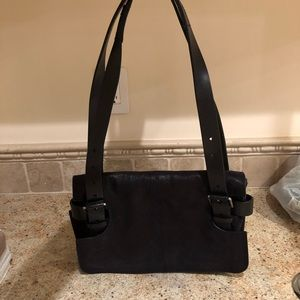 Leather Handbag with Buckle accent