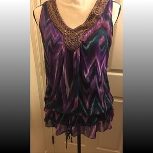 Purple & Teal Beaded Neckline Top Sleeveless