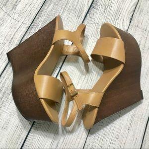 NWOT Bamboo Slingback Wedge Sandals