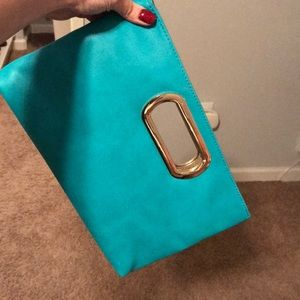 BNWT Charming Charlie Teal Clutch