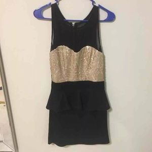 Black mesh and gold sequin party dress