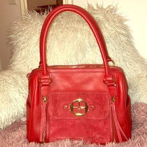 ❤️Red Leather & Suede IMAN Handbag