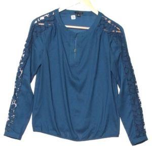 Ann Taylor Deep Blue Sheer Lace-Sleeved Blouse