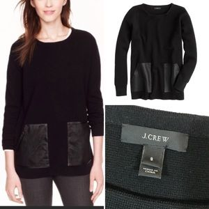 J. Crew Black Merino Wool Sweater Leather Small