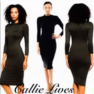 Mock Neck Dress Black Long sleeve Bodycon Midi