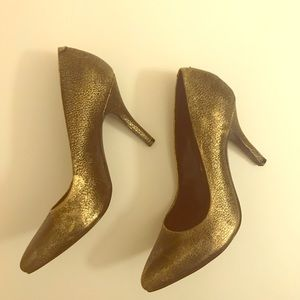 Jessica Simpson Gold Copper Black Heels like new