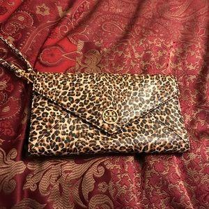 Authentic Tory Burch leopard wristlet wallet