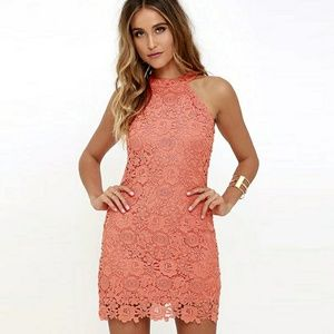 Dresses & Skirts - Lace Mini Dress in Salmon