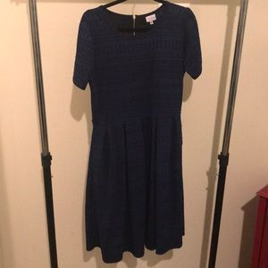 LuLaRoe Amelia Dress-blue/black geometric print