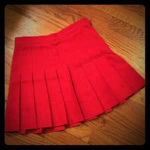 American Apparel red pleated mini skirt
