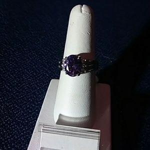 Jewelry - Amethyst ring with white sapphires sz 8 new
