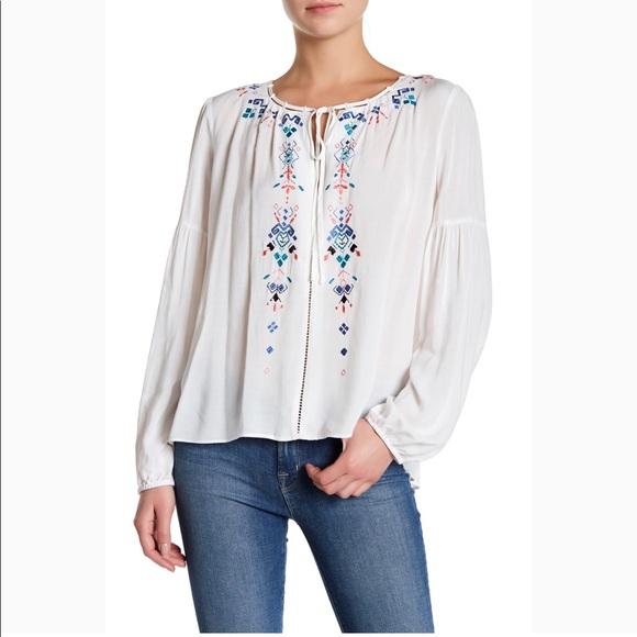 59d03562754e30 Parker Tops | Embroidered Peasant Blouse White Sz S | Poshmark