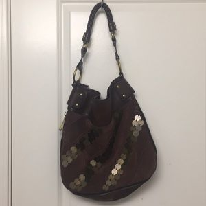 Brown Fossil Tote Bag with brass disc details