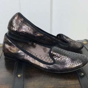 BCBG MaxAzira Metallic Snakeskin Loafers Flats