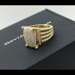 David Yurman 16x12 Gold & Diamonds Wheaton ring 7.