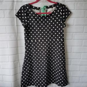 Anthropologie Postmark black polka dot dress S