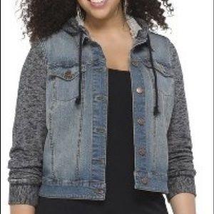 Mossimo hooded denim jacket w/knit sleeves - XXL