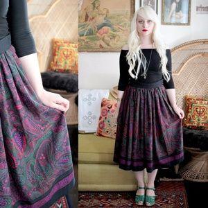 Vintage 70s Paisley Scarf Print Gothic Skirt