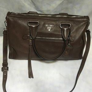 Prada handbag. Brown leather tote Bauletto Vitello