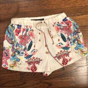 Zara silk floral shorts