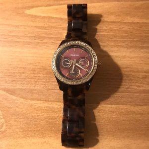 Women's tortoise fossil watch