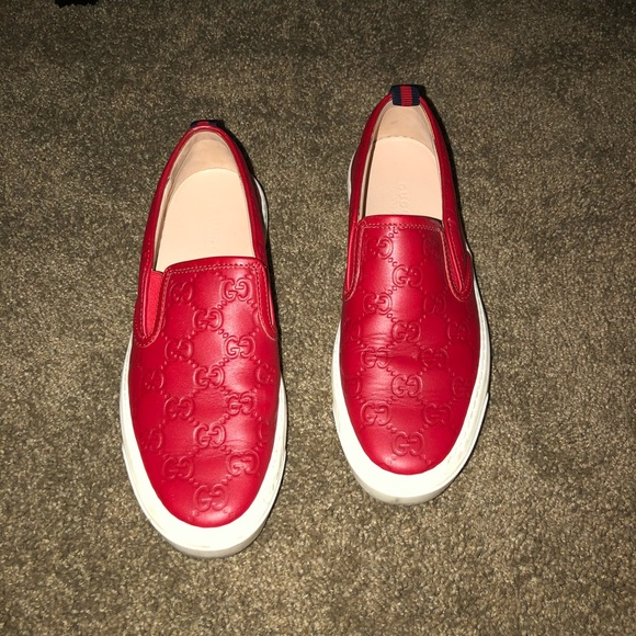 c236e89a6c3 Gucci Shoes - Gucci Red Slip-On Sneaker Shoes