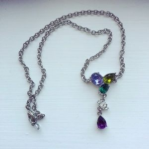 Silver whimsical & colorful gemstone Y necklace