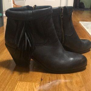 Same Edelman leather fringe booties