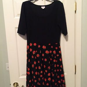 Lularoe 2XL Nicole - Black with Red Roses Unicorn