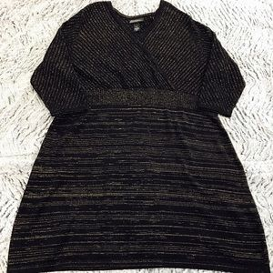 Lane Bryant black gold sparky holiday knit dress
