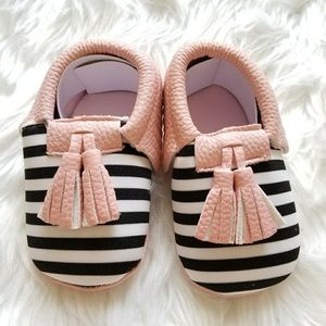 Other - Baby Girl Moccasins Pink with Black & White Stripe