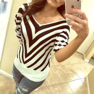 WHBM striped V-Neck sweater/top