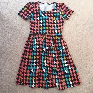 LuLaRoe Amelia Colorful Houndstooth Dress