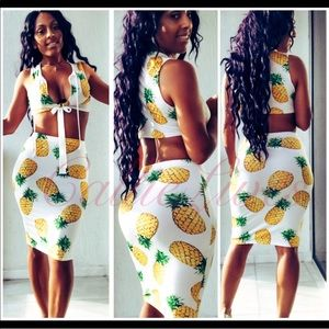 White Pineapple Cut Out Crop Top Bodycon Skirt Set