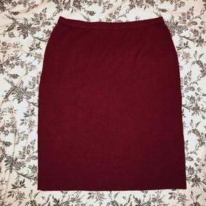 Burgundy plus-size stretch bodycon pencil skirt