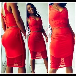 Red WowCouture Bra & Skirt ⬇️$100 Mesh Bandage Set