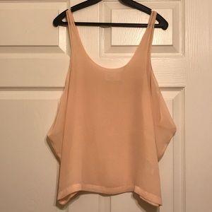 Zara Pink Silk U-Neck Top